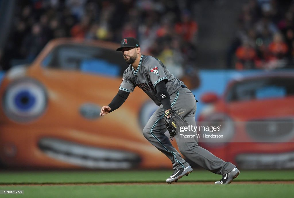 Deven Marrero #10 of the Arizona Diamondbacks reacts to a ground ball off the bat of Brandon Crawford #35 of the San Francisco Giants in the bottom of the fifth inning at AT&T Park on June 5, 2018 in San Francisco, California.