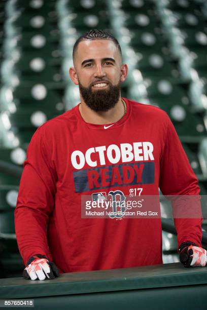 Deven Marrero of the Boston Red Sox arrives at Minute Maid Park for a team practice on October 4 2017 in Houston Texas