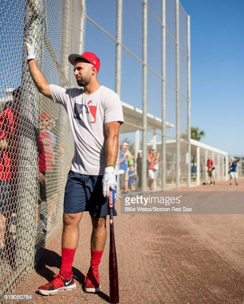 Deven Marrero of the Boston Red Sox greets fans during a team workout on February 16 2018 at Fenway South in Fort Myers Florida