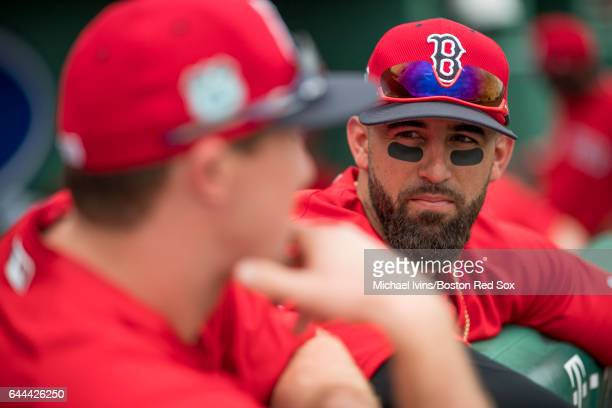 Deven Marrero of the Boston Red Sox looks on before an exhibition game against Northeastern University on February 23 2017 at jetBlue Park in Fort...
