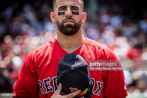 Deven Marrero of the Boston Red Sox looks on before game one of a doubleheader against the New York Yankees on July 16 2017 at Fenway Park in Boston...