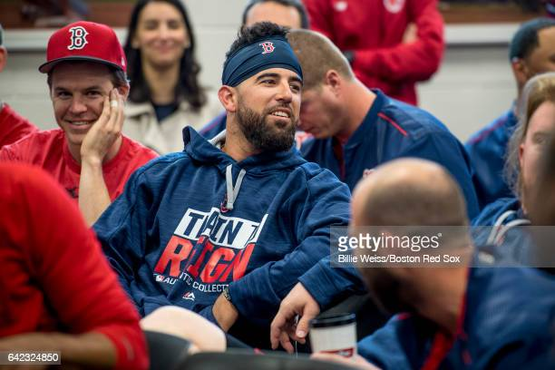 Deven Marrero of the Boston Red Sox reacts during a team meeting before a workout on February 17 2017 at Fenway South in Fort Myers Florida