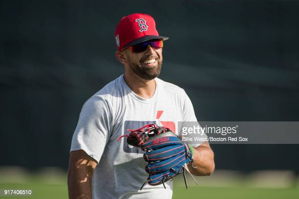 Deven Marrero of the Boston Red Sox reacts during a team workout on February 12 2018 at Fenway South in Fort Myers Florida