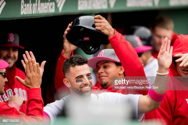 Deven Marrero of the Boston Red Sox reacts scoring against the Tampa Bay Rays in the fifth inning at Fenway Park on May 13 2017 in Boston...