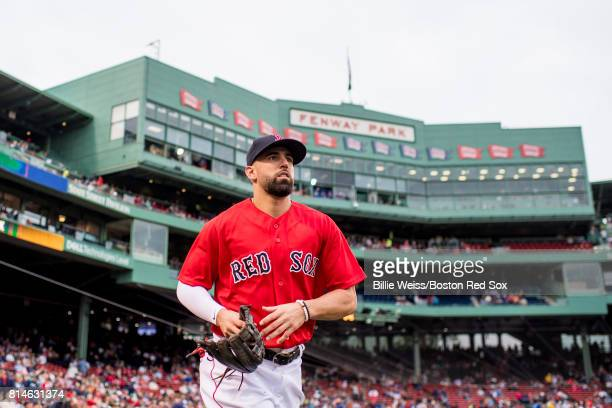 Deven Marrero of the Boston Red Sox runs onto the field before a game against the New York Yankees on July 14 2017 at Fenway Park in Boston...