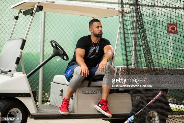 Deven Marrero of the Boston Red Sox sits in a golf cart during a team workout on February 14 2018 at Fenway South in Fort Myers Florida
