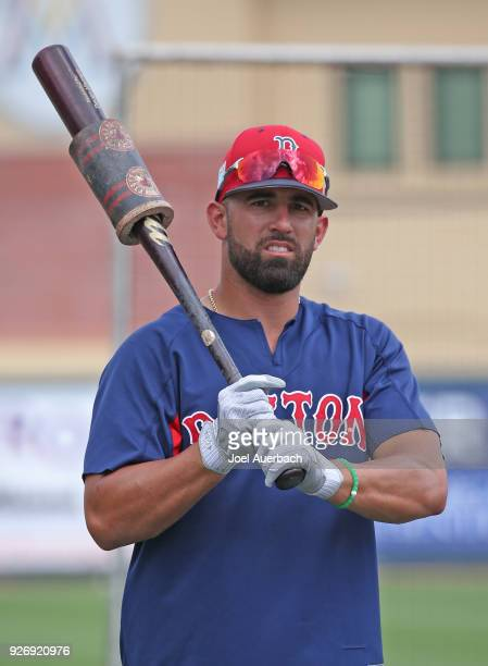 Deven Marrero of the Boston Red Sox takes batting practice prior to the spring training game against the St Louis Cardinals at Roger Dean Chevrolet...