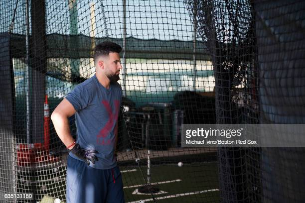 Deven Marrero of the Boston Red Sox waits for his turn in the batting cage on February 13 2017 at jetBlue Park in Fort Myers Florida Deven Marrero