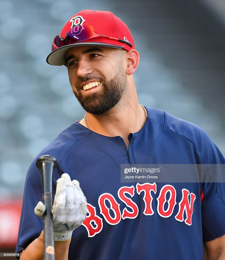 Deven Marrero #17 of the Boston Red Sox warms up before the game against the Los Angeles Angels of Anaheim at Angel Stadium of Anaheim on July 21, 2017 in Anaheim, California.