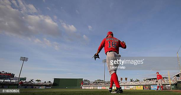 Deven Marrero of the Boston Red Sox warms up prior to the start of the Spring Training Game against the Minnesota Twins on March 16 2016 at...