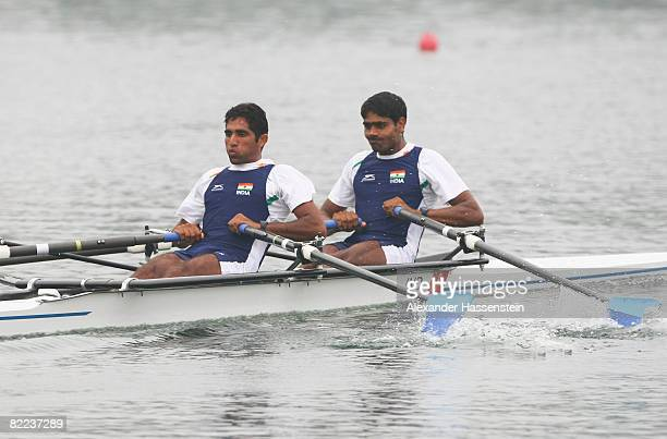 Devender Kumar Khandwal and Manjeet Singh of India compete in the Lightweight Men's Double Sculls Heat 2 at the Shunyi Olympic Rowing-Canoeing Park...