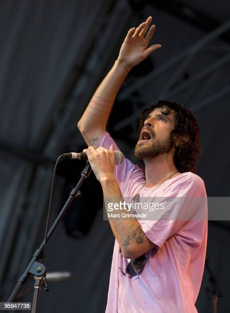 Devendra Banhart performs on stage on the first day of the 2day Sydney leg of the Big Day Out music festival at Sydney Showground on January 22 2010...