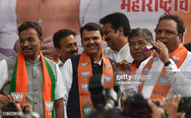 Devendra Fadnavis along with party leaders at BJP office at Nariman point, on November 23, 2019 in Mumbai, India. In a dramatic turn of events, the...