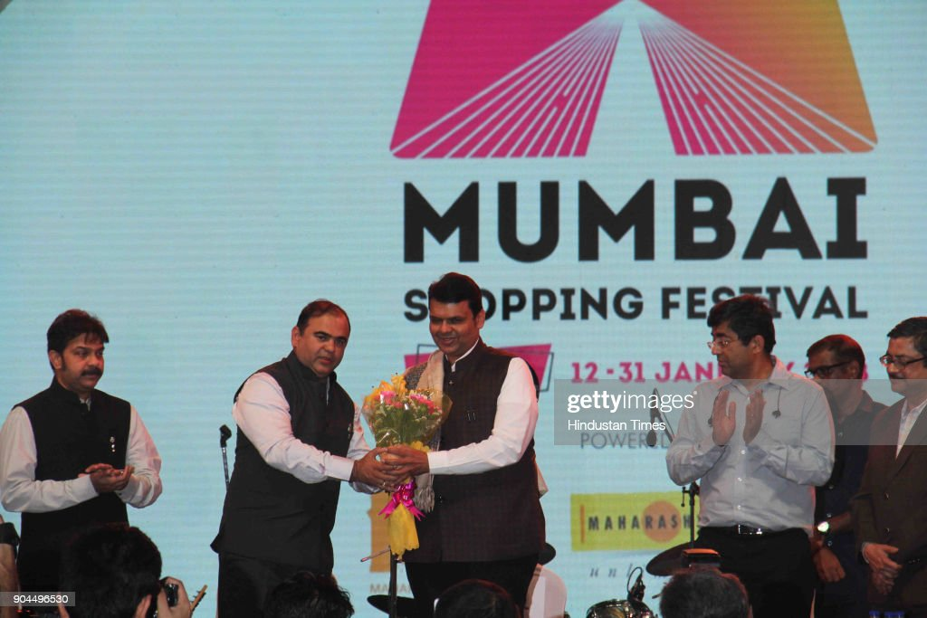 CM Devendra Fadnavis and Tourism Minister Jaykumar Rawal during an opening ceremony of Mumbai Shopping Festival at JIO Garden, BKC, on January 12, 2018 in Mumbai, India. This festival has been designed on the lines of Dubai Shopping fest. Apart from this, the festival also showcases the glory of the state by way of live performances and also gives a boost to the Make In India initiative.