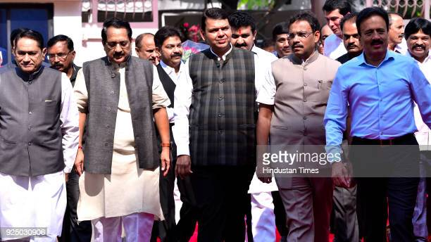 Devendra Fadnavis arrives on the first day of Budget Session at Vidhan Bhavan on February 26, 2018 in Mumbai, India.