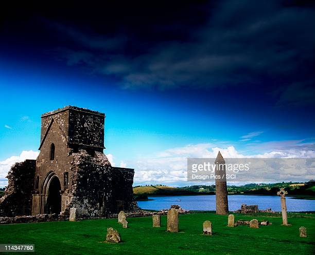 devenish monastic site, lough erne, co fermanagh, ireland - county fermanagh stock photos and pictures