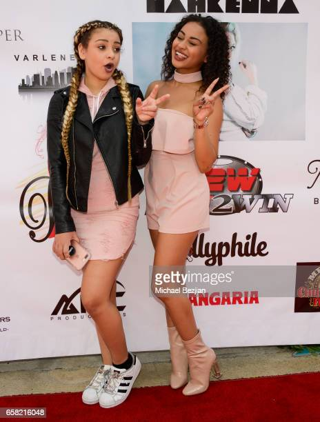 Devenity and Daniella Perkins arriving at Teen Recording Artist Mahkenna's Sweet 16/Expect2Win Extravaganza at ANC Productions on March 26 2017 in...