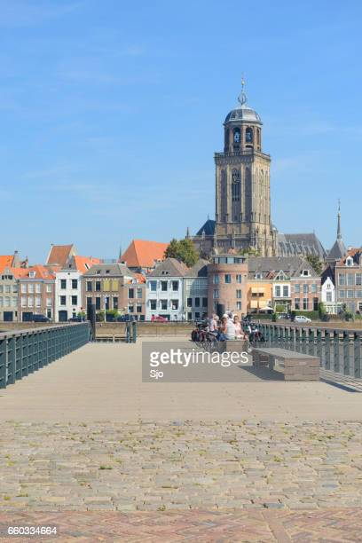 deventer city at the river ijssel in the netherlands - deventer stock photos and pictures