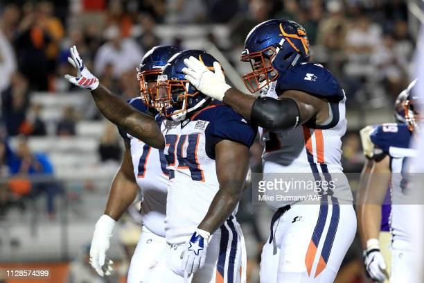 De'Veon Smith of Orlando Apollos celebrates his second quarter rushing touchdown against the Atlanta Legends on February 09 2019 in Orlando Florida