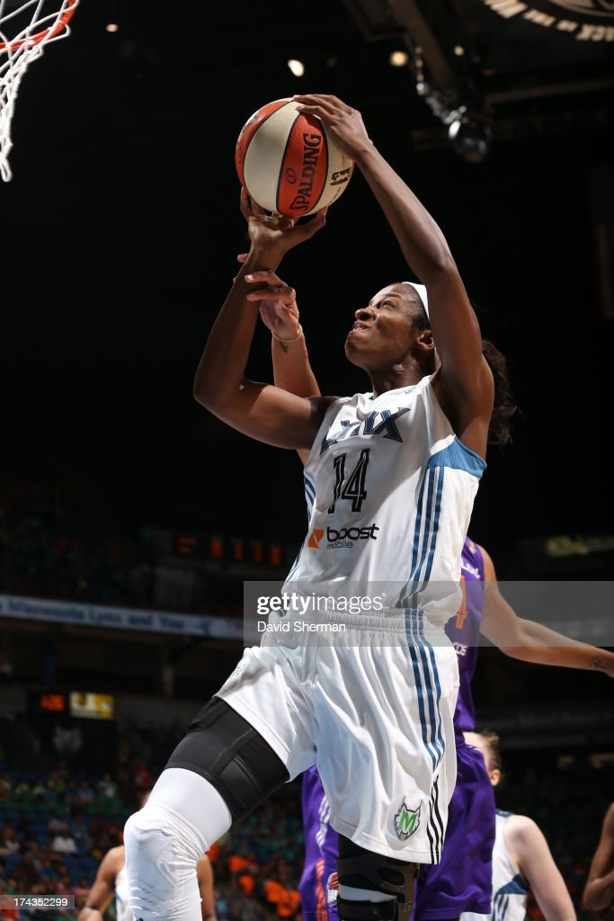 Devereaux Peters #14 of the Minnesota Lynx shoots against the Phoenix Mercury during the WNBA game on July 24, 2013 at Target Center in Minneapolis, Minnesota.