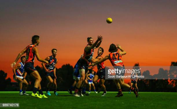 Devereux Pretty of the Calder Cannons competes for the ball during the round two TAC Cup match between Calder and Eastern Ranges at RAMS Arena on...