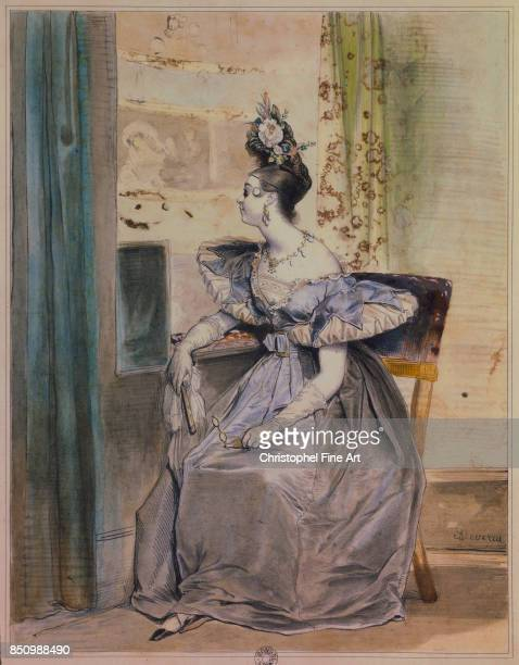 Deveria Achille Portrait of Marie Nodier in her Dressing Room at the Opera Paris Arsenal Library