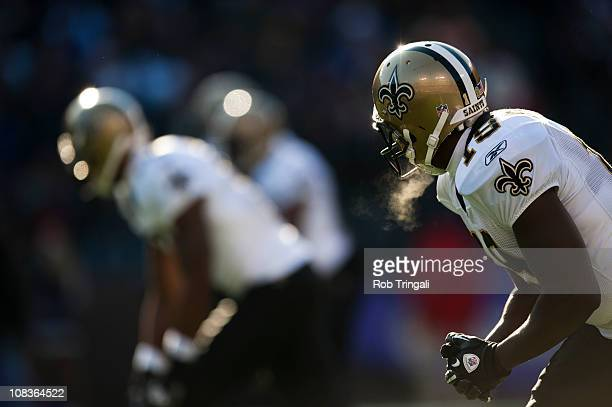 Devery Henderson of the New Orleans Saints defends against the Baltimore Ravens on December 19 2010 at MT Bank Stadium in Baltimore MarylandThe...