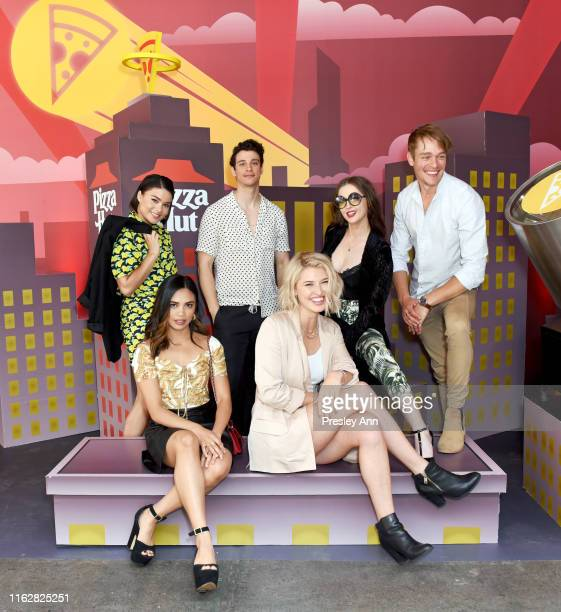Devery Jacobs Louriza Tronco Adam DiMarco Sarah Grey Katharine Isabelle and Thomas Elms of 'The Order' attend the Pizza Hut Lounge at 2019 ComicCon...