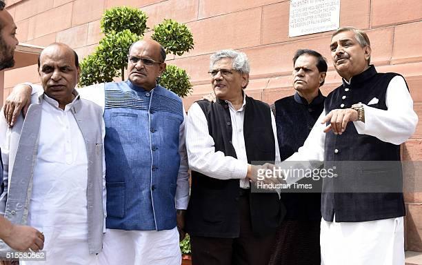 Devi Prasad Tripathi of NCP KC Tyagi of JDU Sitaram Yechury of CPIM Subbarami Reddy and Pramod Tiwari of Congress at Parliament during the ongoing...