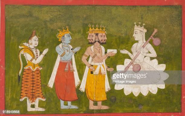Devi revered by Brahma Vishnu and Shiva circa 1710 Dimensions height x width mount 401 x 553 cmheight x width page 18 x 281 cmheight x width painting...
