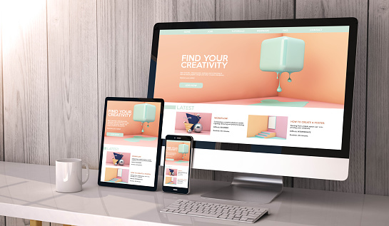devices responsive on workspace creativity website graphic design 1061329208
