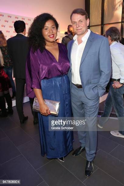 Devid Striesow and his girlfriend Ines Ganzberger during the launch event for 'Das neue Sky' on April 17 2018 in Munich Germany