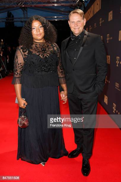 Devid Striesow and his wife Francine Striesow attend the UFA 100th anniversary celebration at Palais am Funkturm on September 15 2017 in Berlin...