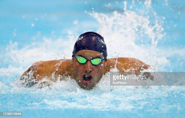 Devid Zorzetto competes in the men's 100m butterfly during the international swimming trophy Frecciarossa Settecolli in Rome Italy on August 12 2020