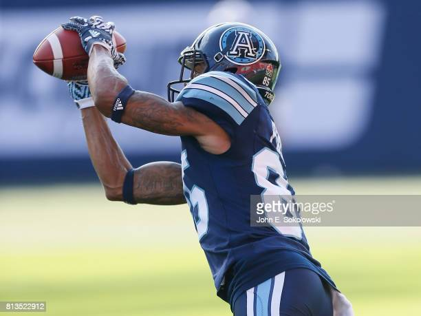 DeVier Posey of the Toronto Argonauts makes a catch during the warmup of a CFL game at BMO field on June 30 2017 in Toronto Ontario Canada BC...
