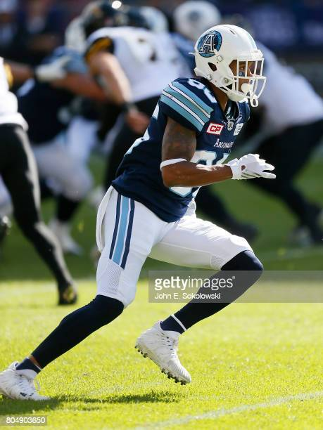 DeVier Posey of the Toronto Argonauts runs a pass pattern against the Hamilton TigerCats during a CFL game at BMO Field on June 25 2017 in Toronto...