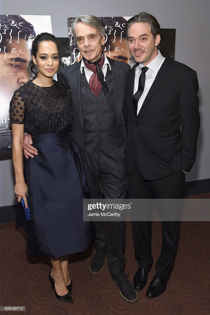 Devika Bhise, Jeremy Irons, and Matthew Brown attend 'The Man Who Knew Infinity' New York screening at Chelsea Bow Tie Cinemas on April 27, 2016 in New York City.