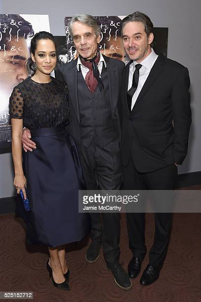 """Devika Bhise, Jeremy Irons, and Matthew Brown attend """"The Man Who Knew Infinity"""" New York screening at Chelsea Bow Tie Cinemas on April 27, 2016 in..."""