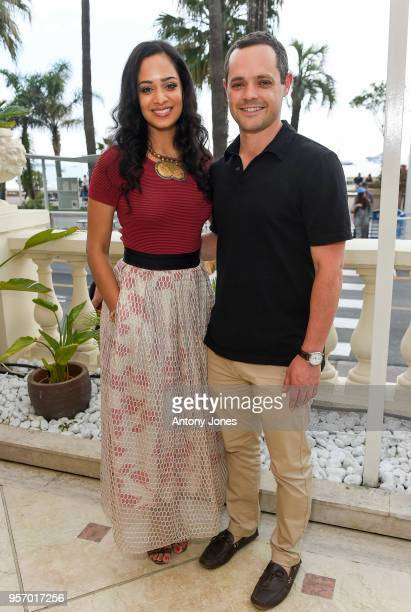 Devika Bhise with Joe Della Rossa attend an exclusive Cannes launch celebration of 'Swords Sceptres' at The Carlton on May 10 2018 in Cannes France