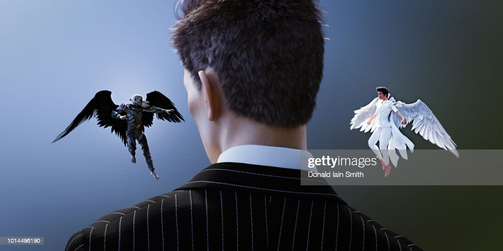 Devil and angel whispering in ear of businessman : Stock Photo