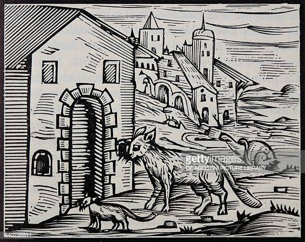 Devil and witch transformed into a wolf and dog engraving from the Compendium Maleficarum by Francesco Maria Gouache Milan Italy 17th century