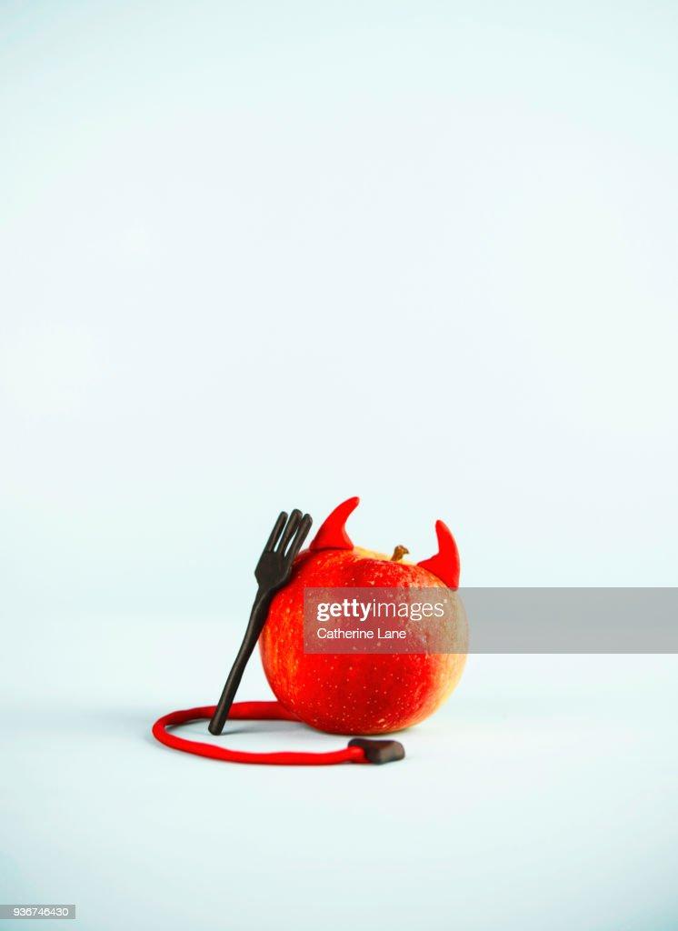 Devil Apple Food Character : Stock Photo