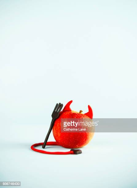 devil apple food character - devil costume stock photos and pictures