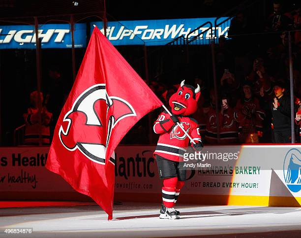 Devil celebrates the New Jersey Devils victory against the Vancouver Canucks at the Prudential Center on November 8 2015 in Newark New Jersey