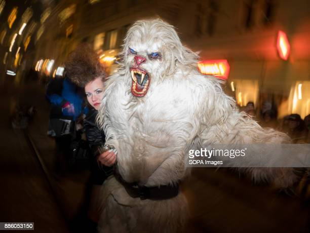 Devil characters seen running in the centre of Graz Around December 6th St Nicolas Day people dress up as devils run through streets of towns and...