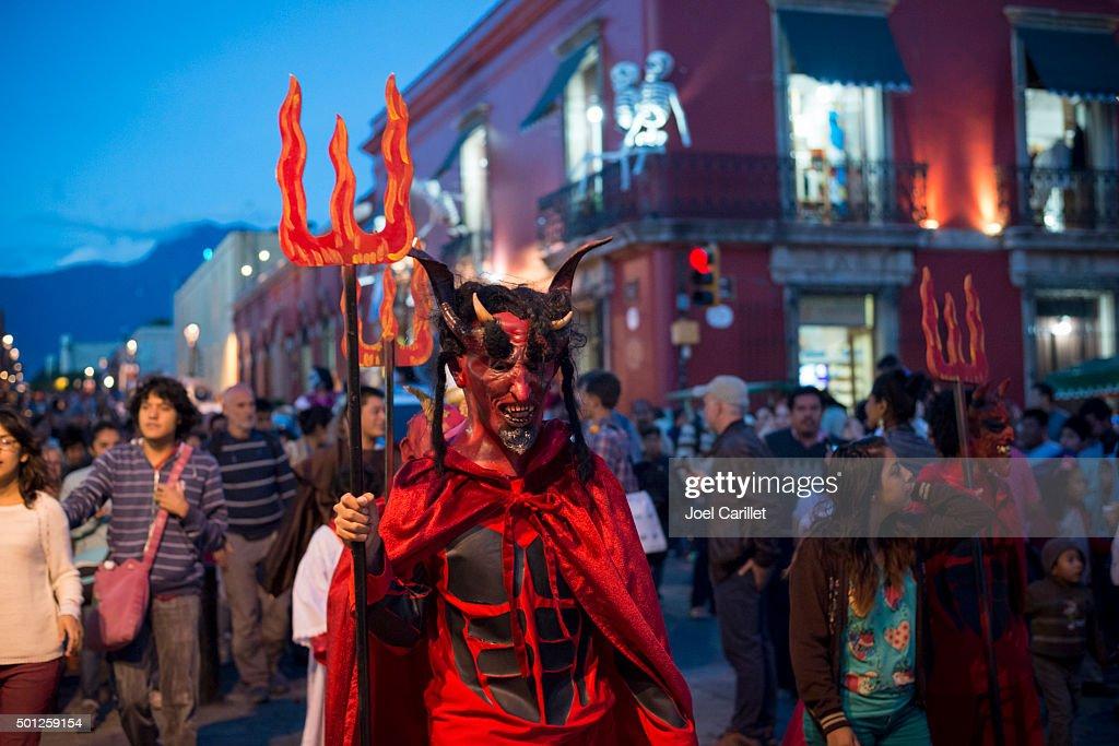 Devil costumer at Day of the Dead - Oaxaca, Mexico : Stock Photo