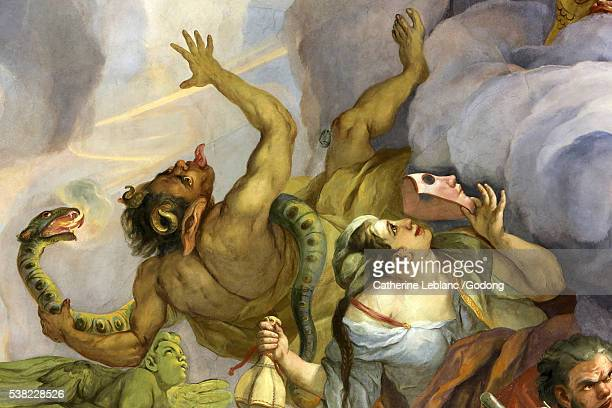 devil. fresco by johann michael rottmayrr. karlskirche. st. charles's church. - church of satan stock pictures, royalty-free photos & images