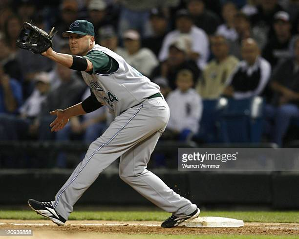 Devil Rays first baseman, Kevin Witt prepares to catch a ball during game action at U.S. Cellular Field, Chicago, Illinois on August 30, 2006. The...
