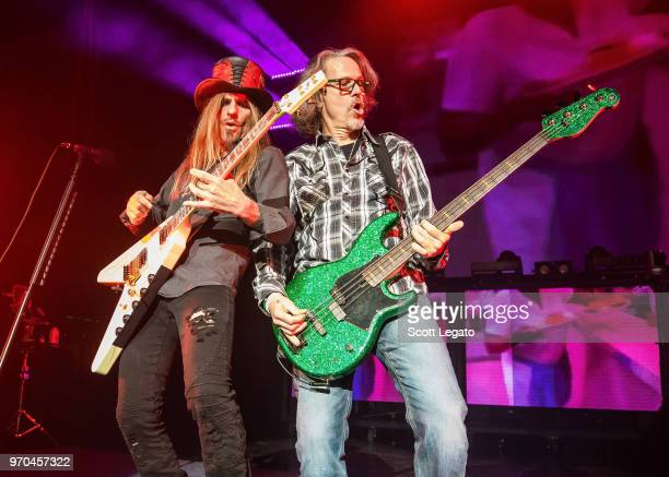 C DeVille and Bobby Dall of Poison perform during the Nothin' But a Good Time Tour 2018 at DTE Energy Music Theater on June 8 2018 in Clarkston...