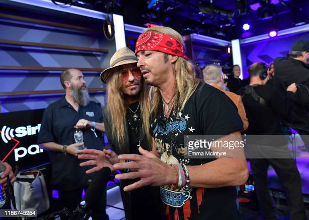 CC DeVille and Bret Michaels of Poison speak during the press conference for THE STADIUM TOUR DEF LEPPARD MOTLEY CRUE POISON at SiriusXM Studios on...